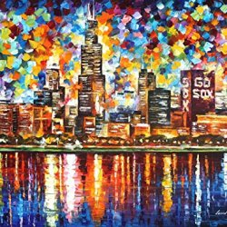 Chicago Oil Paintings Modern Canvas Wall Art Decor For Home Decoration Palette Knife On Canvas 40 X 30 In Unframed