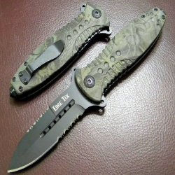 "8"" Spring Assisted Opening Pocket Knife Camo 5928"