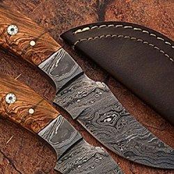 Custom Made Damascus Steel Skinner Knife W/ Olive Wood Handle