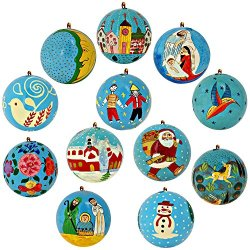 Set Of 12 Turquoise Paper Mache Valentine Ornaments Handmade In Kashmir, India, 3 Inches