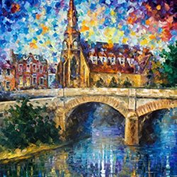 Decorative Room (Unframe And Unstretch) 100% Hand-Painted Palette Knife Oil Painting On Canvas,Castle By The River,30 X 40 Inch (75Cm X 100Cm)