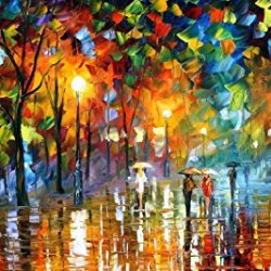 Unexpected Meeting Modern Canvas Art Wall Decor Palette Knife Oil Painting Wall Art 16X12In 40X30Cm Unframed