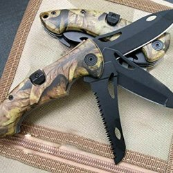 Three Separate Lock Speed Assisted Opening Camo Rescue Knife 7.67''