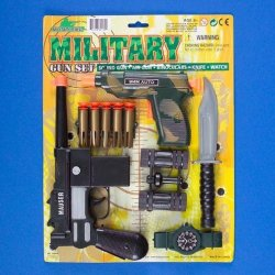 Deluxe Military Action Toy Machine Gun Pistol Army Knife Set