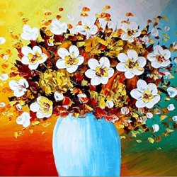Xm Art-Blue Clouds Vase Palette Knife Landscape Oil Painting On Canvas Wall Art Deco Home Decoration(Unstretch And No Frame)