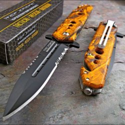 Tac-Force Assisted Opening Orange Camo Dagger Rescue Glass Breaker Knife New