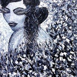 Palette Knife Fine Art Painting On Canvas,Modern Wall Art Elegant Girl 15X12 In/37.5X30Cm Unframed