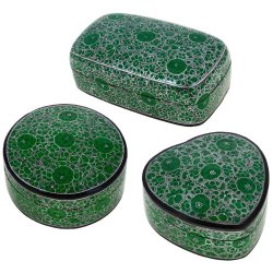 Set Of 3 Green Floral Paper Mache Boxes Handmade Heart Rectangular Round, 6 Inches