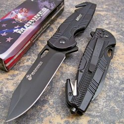 Usmc Marines Officially Licensed Black Rescue Pocket Knife