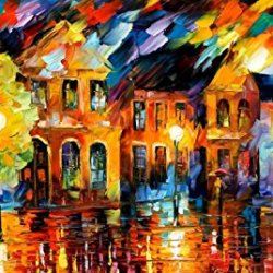 Hand-Painted Artwork Living Room Bedroom Corridor Decor Art Hottest Palette Knife Oil Paintings On Canvas (Old Street) - 36 X 20 Inch , Unframed