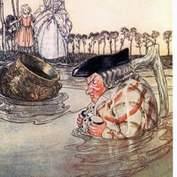 Window Cling Arthur Rackham The Two Pots Aesop'S Fables