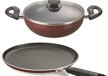 Prestige Omega Deluxe Induction Compatible Tawa & Kadai Set