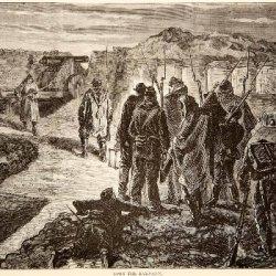 1874 Wood Engraving Franco-Prussian War Ramparts Soldiers Guns Bayonets Forts - Original In-Text Wood Engraving