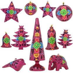 Set Of 11 Purple Floral Paper Mache Valentine Ornaments - Handmade Indian Gifts