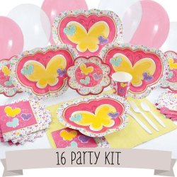 Playful Butterfly And Flowers - 16 Person Party Kit