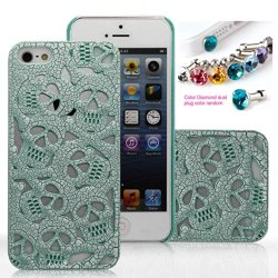 Cocoz® Fashion Skull Precise Carving Fashion Design Hard Case Cover Skin Protector For Iphone 5/5S Retail Packing(Pc) -K001 (Green With White)