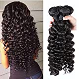 """Mornice Hair 4 Bundles 100% Unprocessed 8A Brazilian Remy Virgin Hair Weft Weave Curly Deep Wave Human Hair Extensions Natural Color 400G (12""""14""""16""""16"""")"""