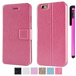 Cocoz® Apple Iphone 6 Plus 5.5 Inch Magnetic Closure Pu Fashion Smart Wake Up Mode Premium Daytona Skin Stand Classic Multifunction Folio Case With For Apple Iphone 6 Plus 5.5 Inch (Rose Pink)