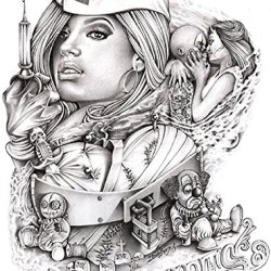 Mouse'S Love Hurts By Mouse Lopez Sexy Nurse Tattoo Canvas Giclee Art Print
