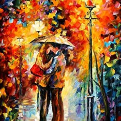 Hand-Painted Artwork Living Room Bedroom Corridor Decor Art Perfect Palette Knife Oil Paintings On Canvas (Kiss Under The Rain 2) - 40 X 30 Inch , Unframed