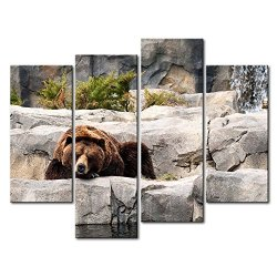 4 Panel Wall Art Painting Grizzly Bear Resting In The Stone Pictures Prints On Canvas Animal The Picture Decor Oil For Home Modern Decoration Print For Girls Bedroom