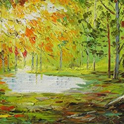 Fine Art Palette Knife Unframed Wall Art Deco Home Decoration With Morning Forest 12X12 In/30X30Cm
