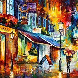The Swan Café Oil Paintings Modern Canvas Wall Art Decor For Home Decoration Palette Knife On Canvas 40 X 30 In Unframed