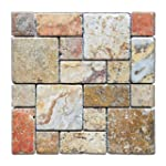 Scabos Travertine 3-Pieced Mini-Pattern Tumbled Mosaic Tile - 6 X 6