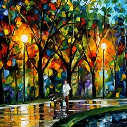 Walk With A Friend Modern Canvas Art Wall Decor Palette Knife Oil Painting Wall Art 15X12In 37.5X30Cm Unframed