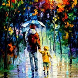 100% Oil Painting Unframed Rainy Walk With Daddy Home Decoration Modern Knife Painting On Canvas 30 X 40 In 75 X 100 Cm