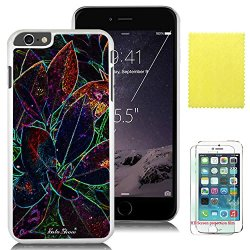 Soloshow® Apple Iphone 6 Plus 5.5 Inch Case Beautiful Fashion Colorful Leaves Case With Slim Fit Case Advanced Shock Absorption Protection + Screen Protector For Apple Iphone 6 Plus 5.5 Inch (White Pc & Colorful Leaves)