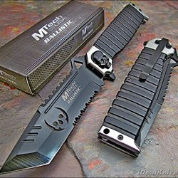Mtech Ballistic Silver Sawback Tanto Skull Assisted Opening Knife New!!