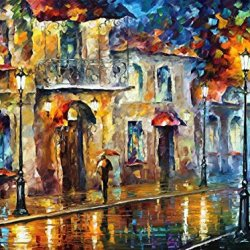 Under Umbrella Palette Knife Oil Painting On Canvas Wall Art Deco Home Decoration 40 X 30 In Unframed