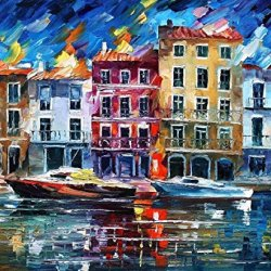 Xm Art-Paris City Construction Knife Landscape Oil Painting On Canvas Wall Art Deco Home Decoration(Unstretch And No Frame)