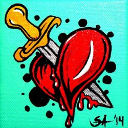 Heartache By Skinderella Broken Heart And Dagger Canvas Giclee Art Print