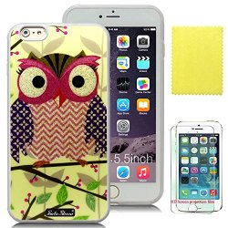Soloshow® Apple Iphone 6 Plus 5.5 Inch Case Beautiful Cute Owl Case With Slim Fit Case Advanced Shock Absorption Protection + Screen Protector For Apple Iphone 6 Plus 5.5 Inch (Transparent Tpu & Cute Owl Green Tree)