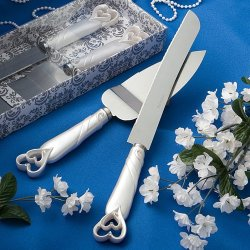 Baby Keepsake: Interlocking Hearts Design Cake Knife Server Set