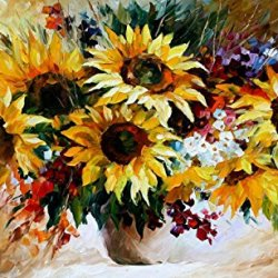 Sunflowers Oil Paintings Modern Canvas Wall Art Decor For Home Decoration Palette Knife On Canvas 20 X 12 In Unframed