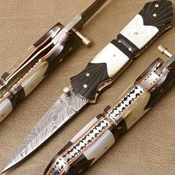 Custom Made Damascus Steel Folding Pocket Knife (Liner Lock) Gi-129,131