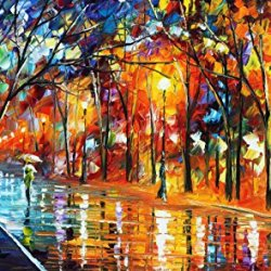Misty Night Modern Canvas Art Wall Decor Palette Knife Oil Painting Wall Art 20X12In 50X30Cm Unframed
