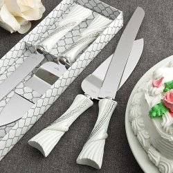 Bling Heart Design Knife And Cake Server Wedding Accessory Set