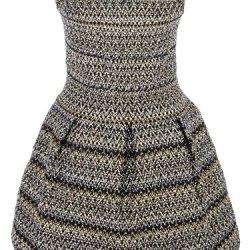 Anna-Kaci S/M Fit Black And Gold Woven Zig Zag Pattern Knife Pleat Skater Dress