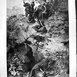 Antique Print Of Deer Shooting Olden Time Hunter Bow Arrow Knife Horn 1877