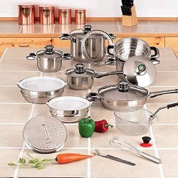 New 22 Pc Stainless Steel Cookware Super Set Pots Pans Lids Extra Large Frypan