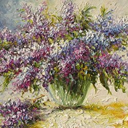 Purple Flower Art Wall Decorative Canvas Knife Painting On Canvas 25X40In/62.5X100Cm Unframed