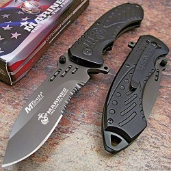Official Usmc Marines Black Folding Tactical Pocket Knife