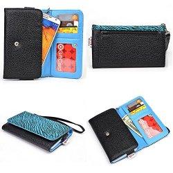 Doogee Dagger Dg550 Smartphone Wallet Case {Black And Aqua Green Zebra Print/ Electric Blue Interior} - Universal Women'S Wristlet + Nextdia Velcro Strap
