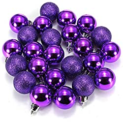 Ornament Ball - SODIAL(R)24Pcs Chic Christmas Baubles Tree Plain Glitter XMAS Ornament Ball Decoration Purple