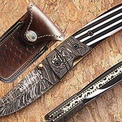 Damascus Etched Steel Blade Pocket Knife