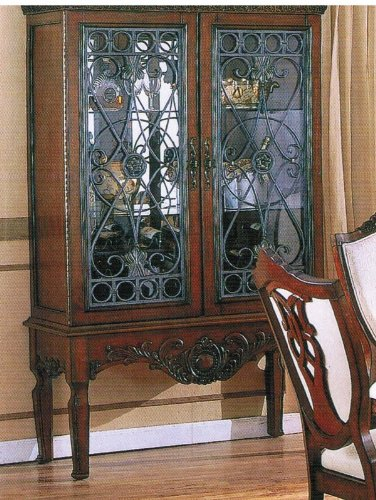 Image of Curio China Cabinet with Glass Doors Brown Cherry Finish (VF_AZ00-39482x21599)